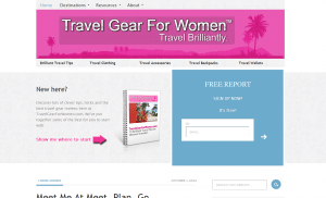 Travel Gear Women website redesign - Before