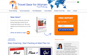 Travel Gear Women website redesign